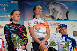 Stage podium: Marianne Vos, Lisa Brennauer and Coryn Rivera at Thüringen Rundfarht 2016 - Stage 1 a 67km road race starting and finishing in Gotha, Germany on 15th July 2016.