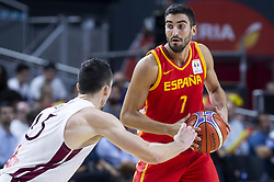 September 17, 2018 - Madrid, Spain - Jaime Fernandez of Spain and Artis Ate of Latvia during the FIBA Basketball World Cup Qualifier match Spain against Latvia at Wizink Center in Madrid, Spain. September 17, 2018. (Credit Image: © Coolmedia/NurPhoto/ZUMA Press)