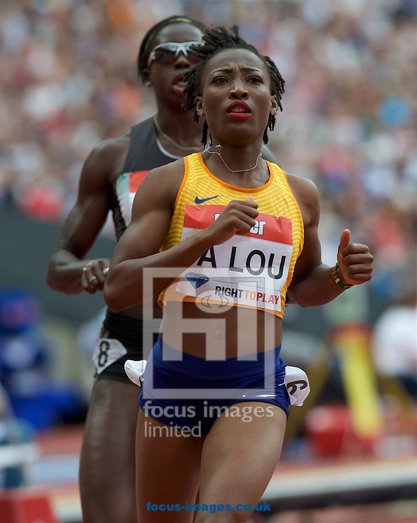 Winner  Marie-Josee Ta Lou (Ivory Coast) competing in the 100m during the M&uuml;ller Anniversary Games in the Stadium at Queen Elizabeth Olympic Park, London, UK<br /> Picture by Alan Stanford/Focus Images Ltd +44 7915 056117<br /> 23/07/2016