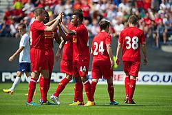 PRESTON, ENGLAND - Saturday, July 13, 2013: Liverpool's Jordon Ibe celebrates scoring the second goal against Preston North End during a preseason friendly match at Deepdale. (Pic by David Rawcliffe/Propaganda)
