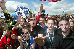 Fans at the main stage at T in the Park, Sunday 8 July 2007..T in the Park festival took place on the 6th, 7th and 8 July 2007, at Balado, near Kinross in Perth and Kinross, Scotland. This was the first time the festival had been held over three days..Pic ©Michael Schofield. All Rights Reserved..