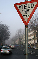 Yield right of way sign in Dublin Ireland