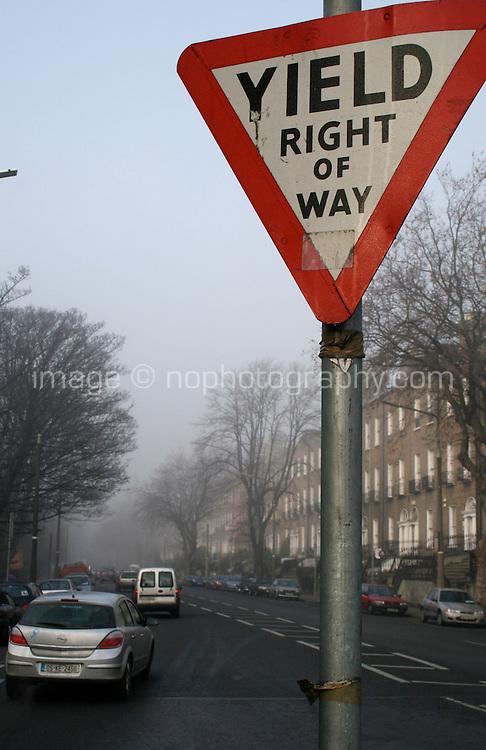 Yield right of way sign in Dublin Ireland