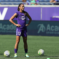 Orlando Pride forward Alex Morgan (13) is seen during warmups prior to  a NWSL soccer match against the Seattle Reign FC at Camping World Stadium on May 8, 2016 in Orlando, Florida. (Alex Menendez via AP)