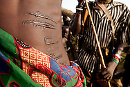 A Jie warrior with AK-47 scarification marks in Jonglei state, Southern Sudan.