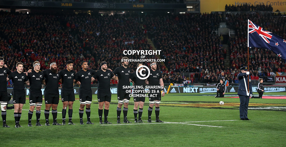 All Black's during game 7 of the British and Irish Lions 2017 Tour of New Zealand, the first Test match between  The All Blacks and British and Irish Lions, Eden Park, Auckland, Saturday 24th June 2017<br /> (Photo by Kevin Booth Steve Haag Sports)<br /> <br /> Images for social media must have consent from Steve Haag