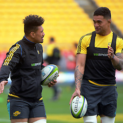 Ardie Savea and Vaea Fifita. Hurricanes Super Rugby final captain's run at Westpac Stadium, Wellington, New Zealand on Friday, 5 August 2016. Photo: Dave Lintott / lintottphoto.co.nz