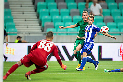 Marko Putincanin of NK Olimpija Ljubljana and Mikko Sumusalo of HJK Helsinki during 1st Leg football match between NK Olimpija Ljubljana and HJK Helsinki in 3rd Qualifying Round of UEFA Europa League 2018/19, on August 9, 2018 in SRC Stozice, Ljubljana, Slovenia. Photo by Urban Urbanc / Sportida