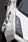 Image of a white Lamborghini sports car detail, Pacific Northwest
