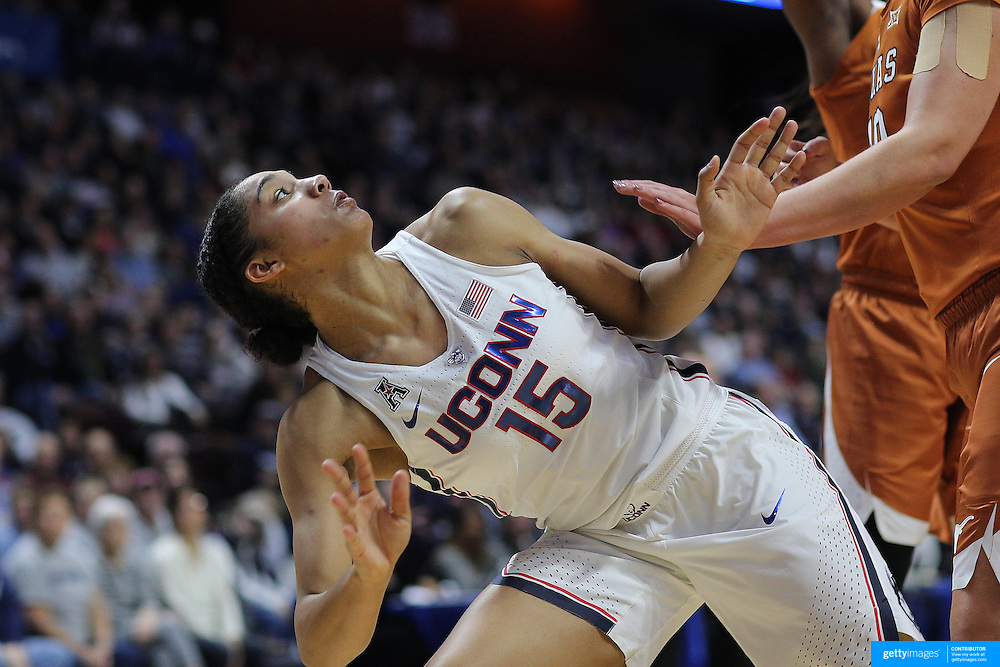 UNCASVILLE, CONNECTICUT- DECEMBER 4: Gabby Williams #15 of the Connecticut Huskies watches her shat after driving to the basket during the UConn Huskies Vs Texas Longhorns, NCAA Women's Basketball game in the Jimmy V Classic on December 4th, 2016 at the Mohegan Sun Arena, Uncasville, Connecticut. (Photo by Tim Clayton/Corbis via Getty Images)