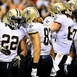 Sep 20, 2015; New Orleans, LA, USA;  New Orleans Saints running back Mark Ingram (22) celebrates withwide receiver Willie Snead (83) following a touchdown during the second quarter of a game at the Mercedes-Benz Superdome. Mandatory Credit: Derick E. Hingle-USA TODAY Sports