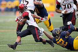 BERKELEY, CA - SEPTEMBER 12:  Running back Donnel Pumphrey #19 of the San Diego State Aztecs is tackled by defensive tackle Marcus Manley #92 of the California Golden Bears during the second quarter at California Memorial Stadium on September 12, 2015 in Berkeley, California. The California Golden Bears defeated the San Diego State Aztecs 35-7. (Photo by Jason O. Watson/Getty Images) *** Local Caption *** Donnel Pumphrey; Marcus Manley