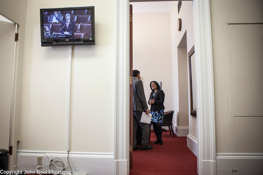 Representative Pramila Jayapal (D-WA, 7) in her congressional office, with her Deputy Chief of Staff, Ven Neralla, before doing a phone interview on Tuesday, January 31, 2017.  John Boal photo/for The Stranger