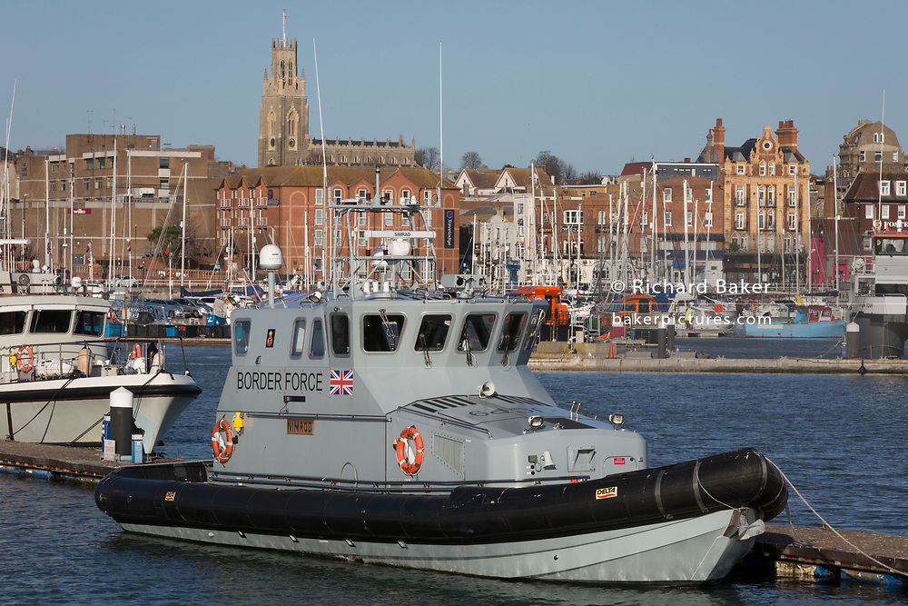 The UK Border Force's patrol vessel Nimrod in Ramsgate harbour, on 8th January 2019, in Ramsgate, Kent, England. Ramsgate is on the Kent coast, close to where small inflatables full of migrants have been crossing from France. The Port of Ramsgate has been identified as a 'Brexit Port' by the government of Prime Minister Theresa May, currently negotiating the UK's exit from the EU. Britain's Department of Transport has awarded to an unproven shipping company, Seaborne Freight, to provide run roll-on roll-off ferry services to the road haulage industry between Ostend and the Kent port - in the event of more likely No Deal Brexit. In the EU referendum of 2016, people in Kent voted strongly in favour of leaving the European Union with 59% voting to leave and 41% to remain.