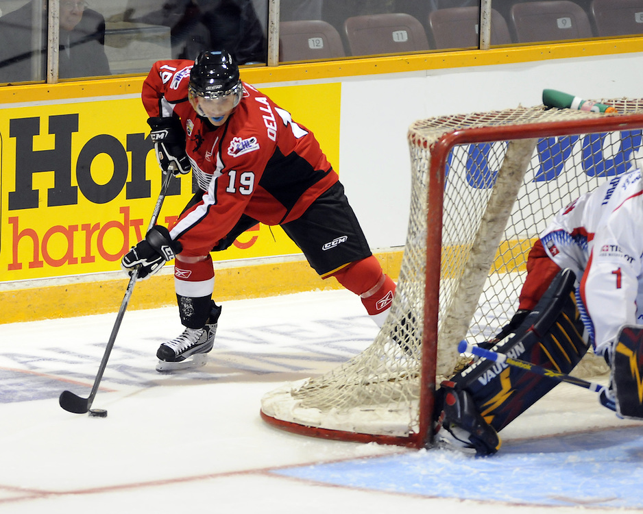 Stefan Della Rovere of the Barrie Colts in Game 3 of the SUBWAY Super Series in Barrie, ON on Thursday November 19. Photo by Aaron Bell/OHL Images
