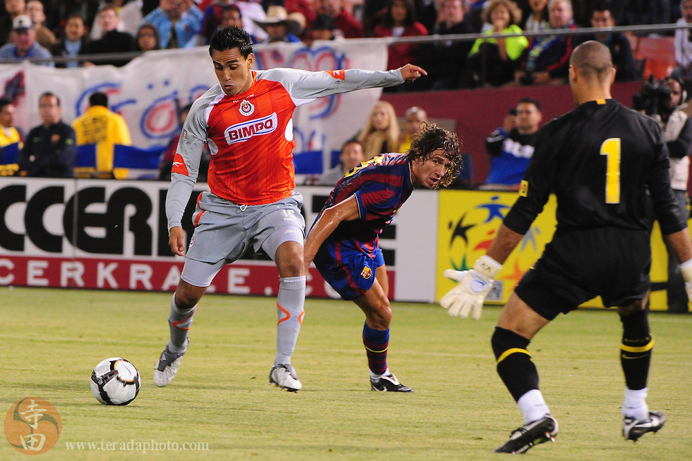 August 8, 2009; San Francisco, CA, USA; Chivas de Guadalajara forward Jesus Padilla (15) kicks the ball during the second half in the Night of Champions international friendly contest against FC Barcelona at Candlestick Park. The game ended in a 1-1 tie.