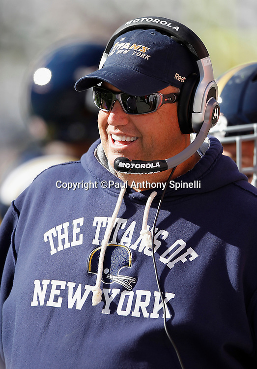 New York Jets head coach Rex Ryan smiles during the NFL week 2 football game against the Jacksonville Jaguars on Sunday, September 18, 2011 in East Rutherford, New Jersey. The Jets won the game 32-3. ©Paul Anthony Spinelli