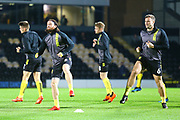 Brewers players warm up during the EFL Sky Bet League 1 match between Burton Albion and Southend United at the Pirelli Stadium, Burton upon Trent, England on 2 October 2018.