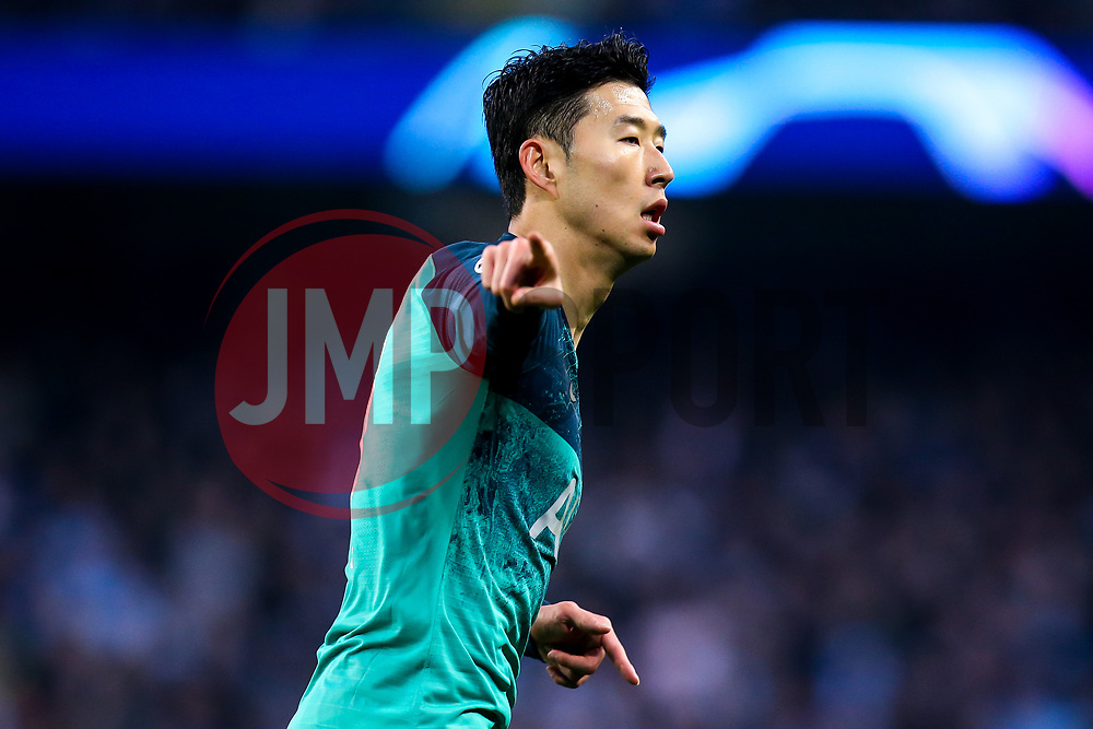 Son Heung-Min of Tottenham Hotspur celebrates scoring a goal to make it 2-1 - Mandatory by-line: Robbie Stephenson/JMP - 17/04/2019 - FOOTBALL - Etihad Stadium - Manchester, England - Manchester City v Tottenham Hotspur - UEFA Champions League Quarter Final 2nd Leg