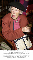 Writer FRANCES PARTRIDGE at a party in London on 2nd May 2001.	ONO 17