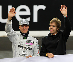 28.11.2010, Esprit Arena, Düsseldorf, GER, Race of Champions, im Bild von links Michael Schumacher (GER, F1 Mercedes GP) und Sebastian Vettel (GER, F1 Red Bull Racing), EXPA Pictures © 2010, PhotoCredit: EXPA/ A. Neis