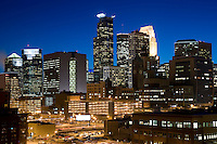 Dramatic view of the Minneapolis skyline at dusk from East looking West.