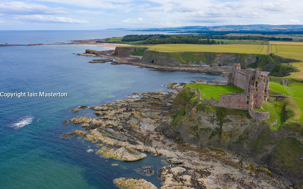 Aerial view of Tantallon Castle in East Lothian, Scotland, UK