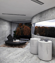 "A concept home designed by an Iranian architect wouldn't look out of place in the next James Bond movie as the villains evil lair.<br /> <br /> Architect Reza Mohtashami's most recent concept, the aptly named Concrete House, isn't meant to be an evil lair as far as we know, but it certainly wouldn't look out of place in a summer blockbuster.<br /> <br /> The austere residence is a cliffside dwelling that somehow manages to look both sinister and beautiful at the same time.<br /> <br /> No stranger to Brutalist-style buildings, Mohtashami's latest design attempts to bring together the natural and unnatural.<br /> <br /> In a series of renders created up by the designer himself, the curved structure, which is made almost entirely of concrete, can be seen protruding out of a frightening rock surface.<br /> <br /> A significant portion of the dwelling juts out over the cliff's edge, supported by a series of pillars.<br /> <br /> While it's clear the building does not belong there, Mohtashami has also managed to design a home that fits naturally into the surroundings.<br /> <br /> ""The exterior and interior concrete building, which rotates in the rocks and into the lake and the forest, can give the resident a feeling of relaxation."" explains Reza.<br /> <br /> Inside there's a stripped-down vibe to the curved living area but there's more than enough room for everything you could need, including a kitchen, bedroom and an entertainment area that offers a completely unobstructed view of the surrounding landscape.<br /> <br /> The large window is complemented by another that runs along the interior of the entire structure, flooding the space with natural light.<br /> <br /> When: 18 Feb 2020<br /> Credit: Reza Mohtashami/Cover Images<br /> <br /> **EDITORIAL USE ONLY. MATERIALS ONLY TO BE USED IN CONJUNCTION WITH EDITORIAL STORY. THE USE OF THESE MATERIALS FOR ADVERTISING, MARKETING OR ANY OTHER COMMERCIAL PURPOSE IS STRICTLY PROHIBITED. MATERIAL COPYRIGHT REMAINS WITH REZA MOHTASHAMI.**"