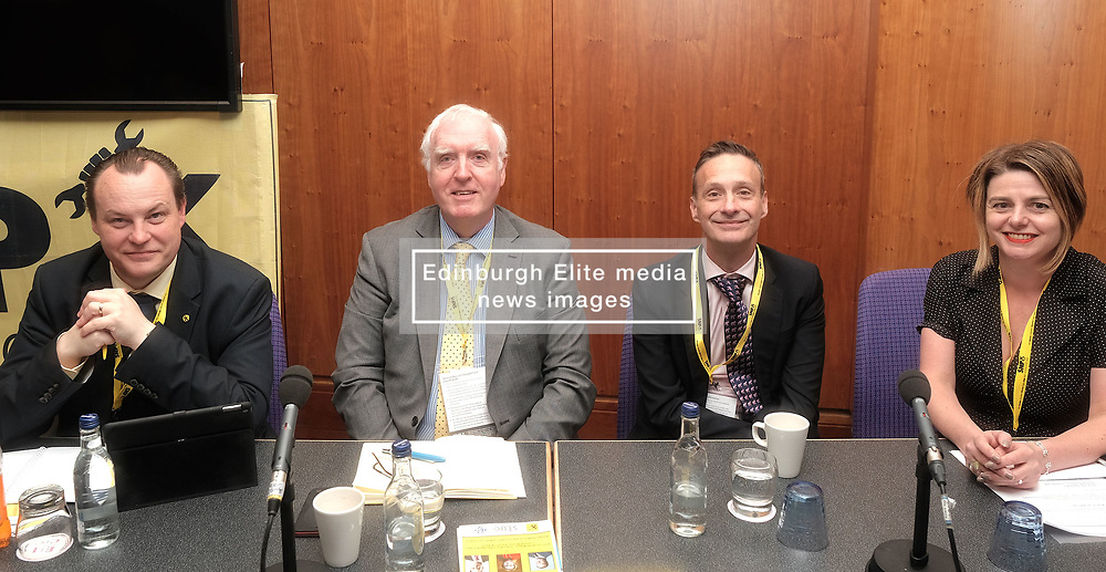 SNP Spring Conference, Saturday 27th April 2019<br /> <br /> SNP Trades Union Group fringe meeting<br /> <br /> The Scottish Trade Union campaign to tackle Corporate Homicide is as old as the Scottish Parliament.  From 2006 the received wisdom has been because any Act would relate to H&S, which is not devolved, the Scottish Parliament may not have legislative competence.<br /> <br /> This view was clearly politically motivated at the time but it has remained received wisdom within the civil service.<br /> <br /> The Trade Unions' campaign however will not go away.  Trade Unions' believe there is a solution using a previously untested section of the Scotland Act.<br /> <br /> We call upon the political will of the Scottish Government to look at this alternative and right the political wrongs of previous Scottish Executives - it is a win-win.<br /> <br /> This is arranged jointly by the TUG and Scottish Hazards and the Speakers are:<br /> <br /> Patrick McGuire, Legal Advisor to Scottish Hazards<br /> <br /> Lynn Henderson,  Past President, Scottish Trades Union Congress<br /> <br /> Chris Stephens MP, Shadow SNP Spokesperson (Fair Work and Employment)<br /> <br /> Chair:  Greg McCarra, Convener, SNP Trade Union Group<br /> <br /> Pictured:  (l to r) Chris Stephens MP, Greg McCarra, Patrick McGuire, Lynn Henderson<br /> <br /> Alex Todd | Edinburgh Elite media