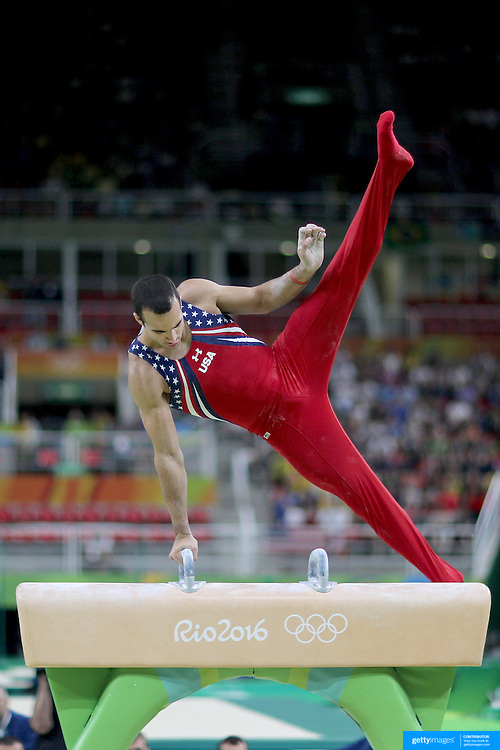 Gymnastics - Olympics: Day 3  Danell Leyva #194 of the United States performing his Pommel Horse routine during the Artistic Gymnastics Men's Team Final at the Rio Olympic Arena on August 8, 2016 in Rio de Janeiro, Brazil. (Photo by Tim Clayton/Corbis via Getty Images)