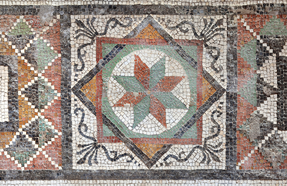 Detail of mosaic border with flower within interlocking squares and geometric patterns, 1st century AD, part of the mosaic floor of the atrium of the Casa di Paquio Proculo, or House of Paquius Proculus, Pompeii, Italy. Pompeii is a Roman town which was destroyed and buried under 4-6 m of volcanic ash in the eruption of Mount Vesuvius in 79 AD. Buildings and artefacts were preserved in the ash and have been excavated and restored. Pompeii is listed as a UNESCO World Heritage Site. Picture by Manuel Cohen