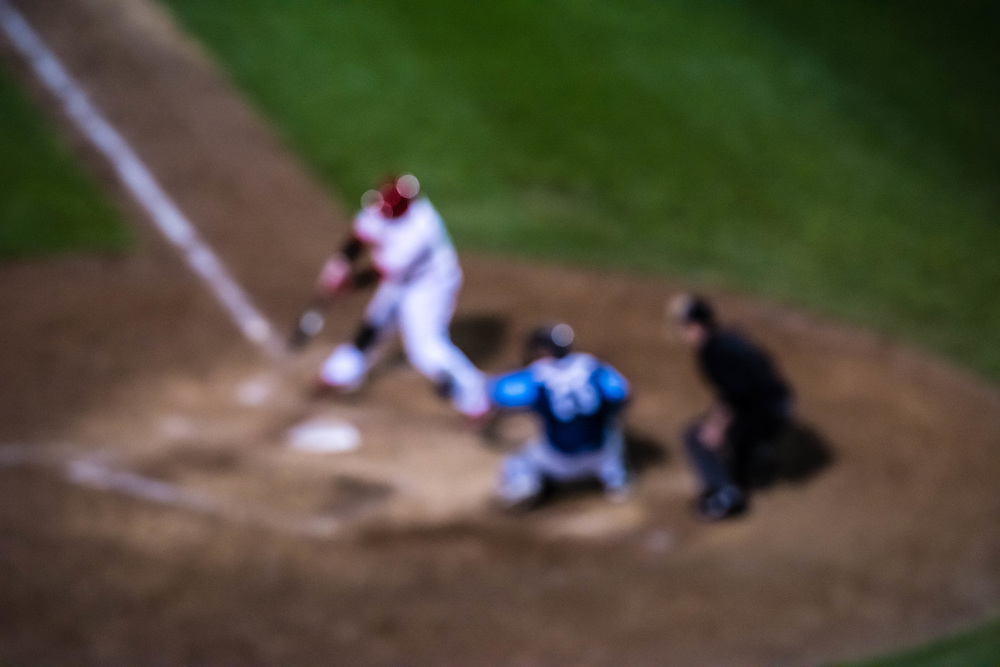 Baseball players and game. Abstract soft focus concept.