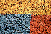 Geometric colours on a stucco wall, Mexico