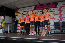 Team Netherlands lines up on the podium before the prologue of the Lotto Thuringen Ladies Tour - a 6.1 km individual time trial, starting and finishing in Gera on July 12, 2017, in Thuringen, Germany. (Photo by Balint Hamvas/Velofocus.com)