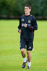 WREXHAM, WALES - Monday, August 18, 2008: Wales' Mark Bradley training at Colliers Park ahead of their UEFA European U21 Championship Group 10 Qualifying match against Romania. (Photo by David Rawcliffe/Propaganda)