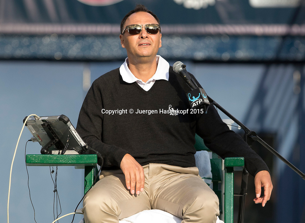 Referee Mohamed Lahyani<br /> <br /> Tennis - Dubai Duty Free Tennis Championships - ATP -   - Dubai -  - United Arab Emirates  - 23 February 2015. <br /> &copy; Juergen Hasenkopf