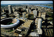 Aerial view of downtown St. Louis business district with Busch Memorial Stadium in foreground. Missouri