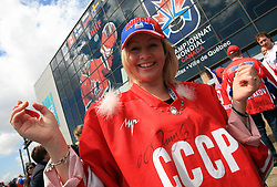 Fans of Russia before  ice-hockey game Canada vs Russia at finals of IIHF WC 2008 in Quebec City,  on May 18, 2008, in Colisee Pepsi, Quebec City, Quebec, Canada. Win of Russia 5:4. (Photo by Vid Ponikvar / Sportal Images)