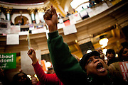 Union worker Mary Collins from Chicago protests in the State Capitol on February 23, 2011 in Madison, Wisconsin.