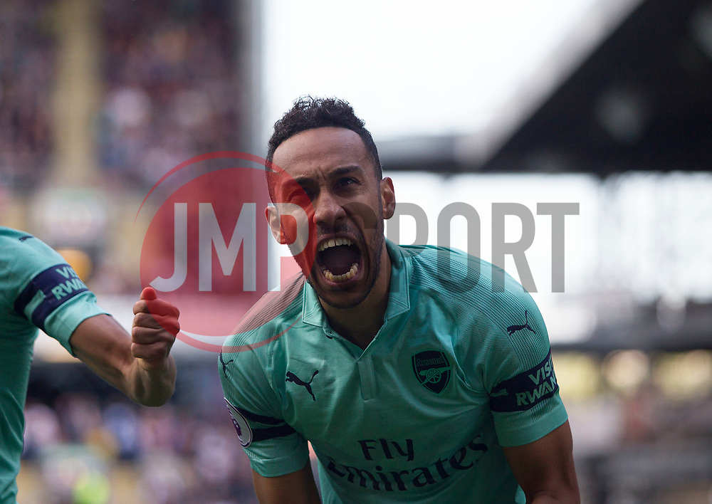 Pierre-Emerick Aubameyang of Arsenal celebrates after scoring his sides first goal - Mandatory by-line: Jack Phillips/JMP - 12/05/2019 - FOOTBALL - Turf Moor - Burnley, England - Burnley v Arsenal - English Premier League