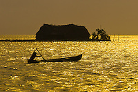 Kuna Indian rowing dugout canoe in front of a hut on small island at sunset, San Blas Islands (Kuna Yala), Caribbean Sea, Panama