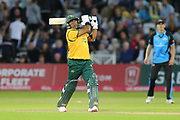 Samit Patel of Nottinghamshire Outlaws hits big but is caught during the Vitality T20 Blast North Group match between Nottinghamshire County Cricket Club and Worcestershire County Cricket Club at Trent Bridge, West Bridgford, United Kingdon on 18 July 2019.