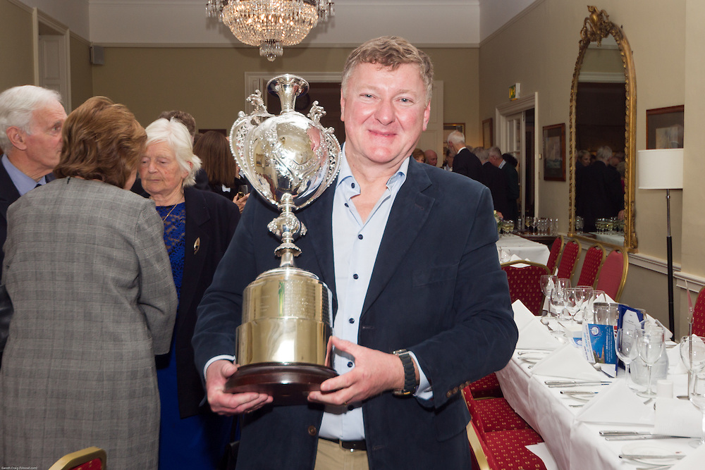 (l to r) Martin Byrne with the Irish National Dragon Championship Trophy at the Classic Dragon Reunion in the Royal St George Yacht Club (Dún Laoghaire) where a large number of current and classic Dragon sailors gathered to celebrate the long (and continued) success of the class.