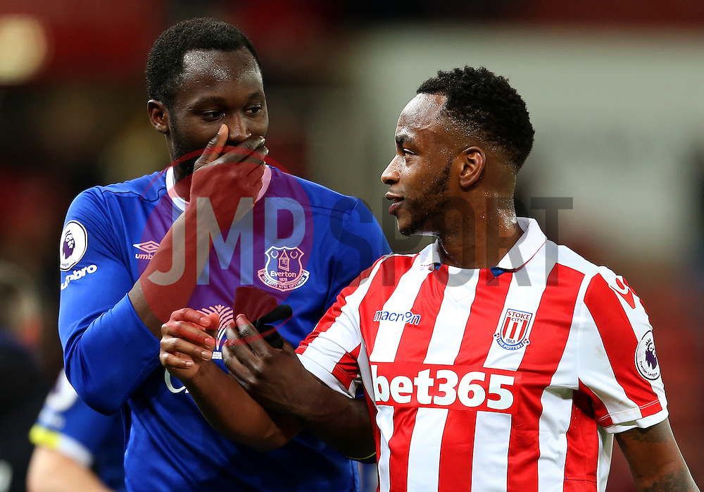 Romelu Lukaku of Everton talks with Saido Berahino of Stoke City at full time - Mandatory by-line: Matt McNulty/JMP - 01/02/2017 - FOOTBALL - Bet365 Stadium - Stoke-on-Trent, England - Stoke City v Everton - Premier League