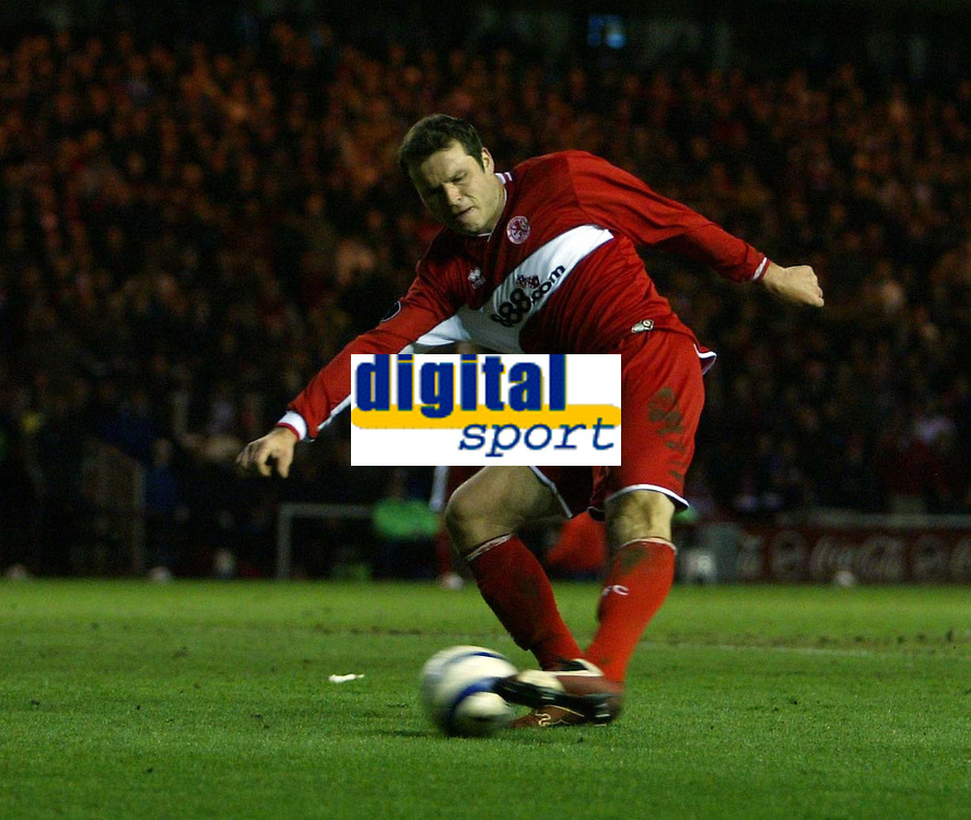 Photo: Jed Wee.<br /> Middlesbrough v FC Basle. UEFA Cup. Quarter-Final. 06/04/2006.<br /> <br /> Middlesbrough's Mark Viduka scores his second goal of the evening to give his team hope again.