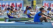 Varese,  ITALY. 2012 FISA European Championships, Lake Varese Regatta Course. ..Women's Eights, 'Race for Lanes' start of the Women's Eights preliminary race Friday afternoon, ..16:32:09  Friday  14/09/2012 .....[Mandatory Credit Peter Spurrier:  Intersport Images]  ..2012 European Rowing Championships Rowing, European,  2012 010811.jpg.....