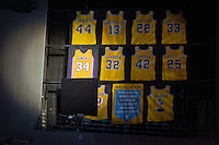 02 April 2013: Shaquille O'Neal's number 34 jersey is un-veiled during the jersey retirement ceremony for retired Los Angeles Lakers center (34) Shaquille O'Neal during halftime of  the Lakers 101-81 victory over the Dallas Mavericks at the STAPLES Center in Los Angeles, CA.
