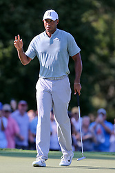 September 21, 2018 - Atlanta, Georgia, United States - Tiger Woods waves to the crowd after putting the green durng the second round of the 2018 TOUR Championship. (Credit Image: © Debby Wong/ZUMA Wire)