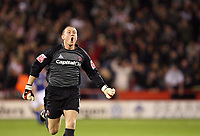 Photo: Paul Greenwood.<br />Sheffield United v Cardiff City. Coca Cola Championship. 02/10/2007.<br />Sheffield United's Paddy Kenny celebrates as the scores are levelled