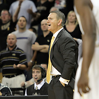 Central Florida head coach Donnie Jones reacts to a foul call during a Conference USA NCAA basketball game between the Marshall Thundering Herd and the Central Florida Knights at the UCF Arena on January 5, 2011 in Orlando, Florida. Central Florida won the game 65-58 and extended their record to 14-0.  (AP Photo/Alex Menendez)